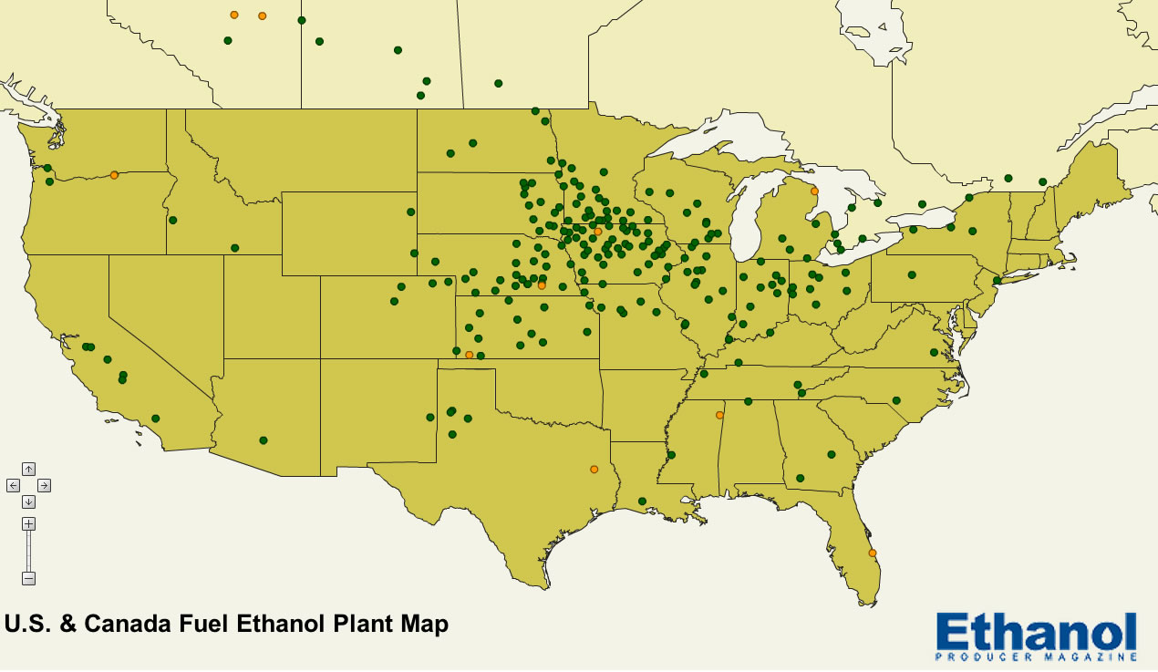 ModernproductionofethanolEthanolgeneral - Map of corn production in us